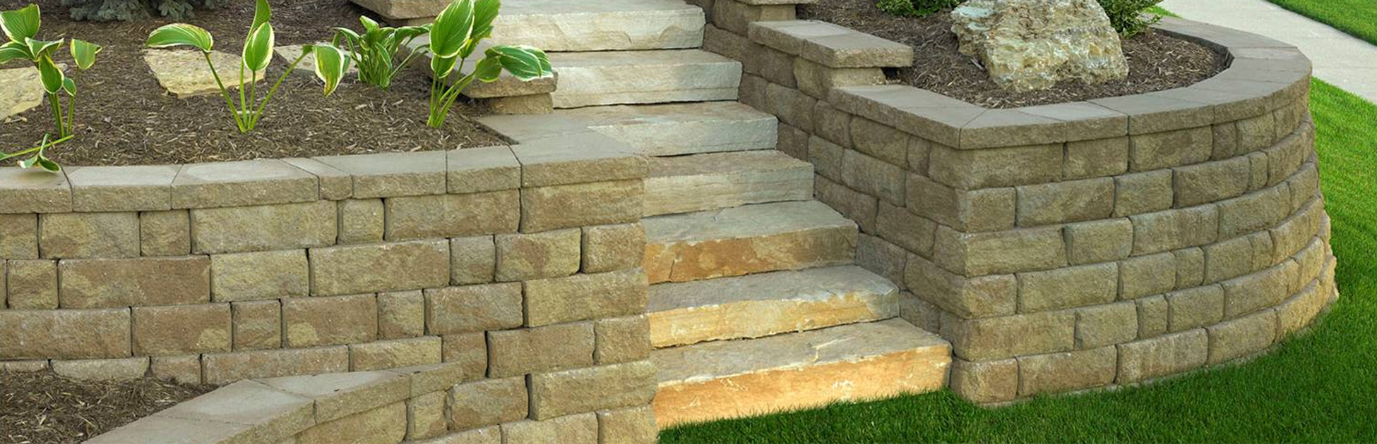 concrete stone walls and steps